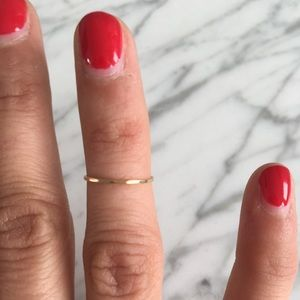 Thin Gold Ring, slightly hammered look